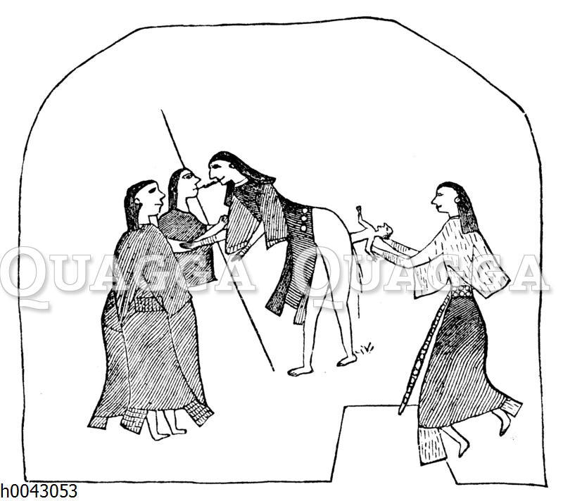 Kiowa-Indianerin bei der Geburt