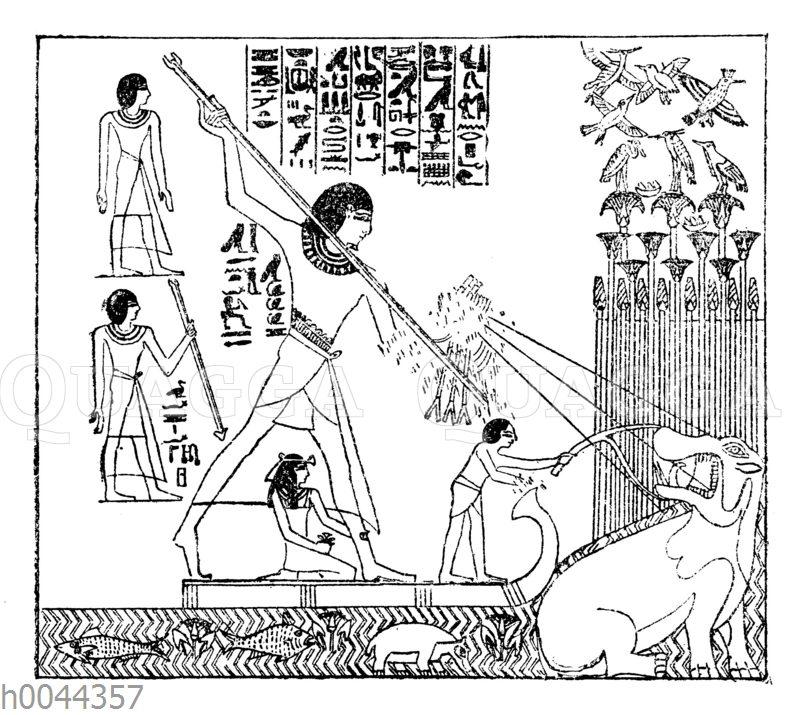 Jagd auf ein Nilpferd im alten Ägypten