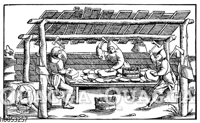 Bearbeitung von Gold- und Silbererzen im 16. Jahrhundert