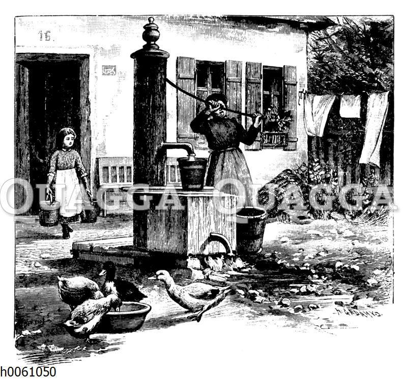Frau und Mädchen am Brunnen