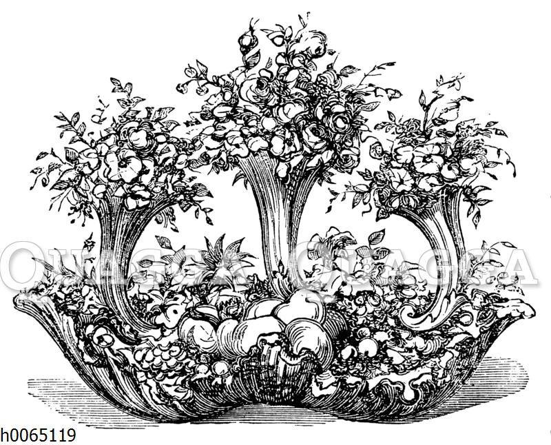 Schale mit Blumen und Obst