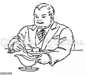 Dicker Mann beim Essen