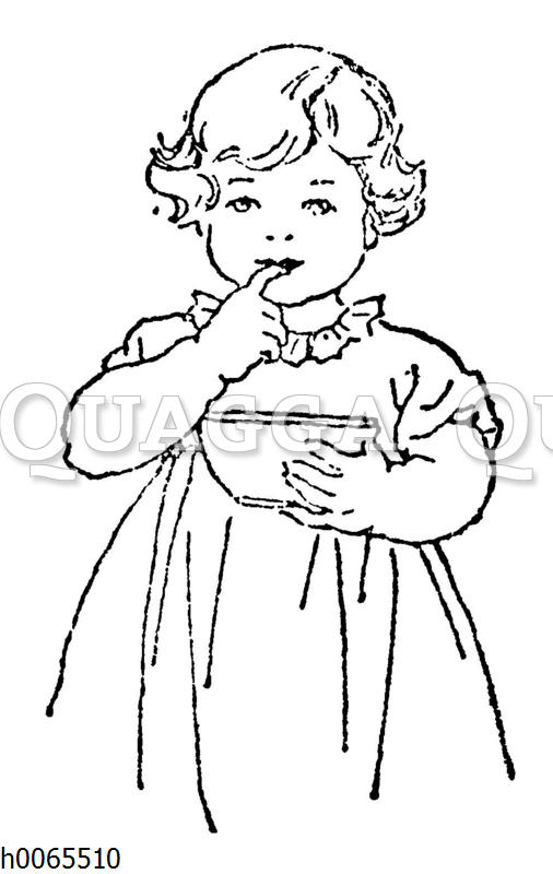 Kleines Mädchen nascht aus einer Schale
