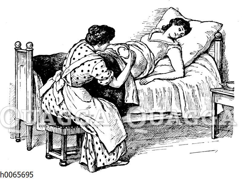 Hebamme und Schwangere: Der Credé'sche Handgriff zur Entfernung der Nachgeburt