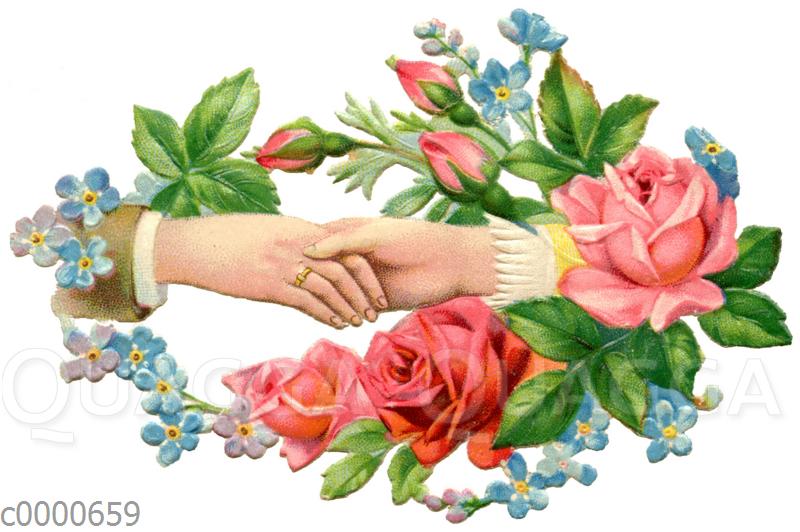 Sich haltende Hände von Ehemann und Ehefrau