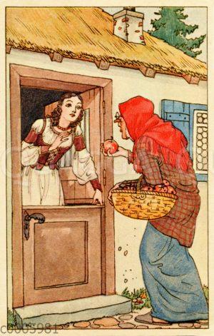 Die böse Stiefmutter bietet Schneewittchen einen vergifteten Apfel an