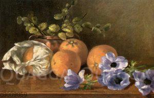 Stillleben mit Orangen und blauen Anemonen