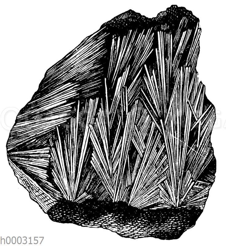 Büschelförmig strahlige Kristallgruppe von Antimonglanz