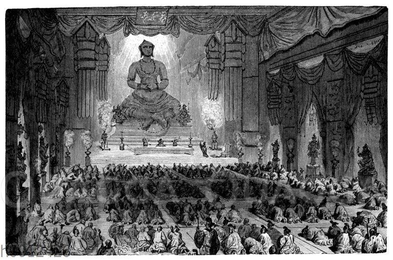 Buddha-Verehrung im Kloster der tausend Lamas zu Peking