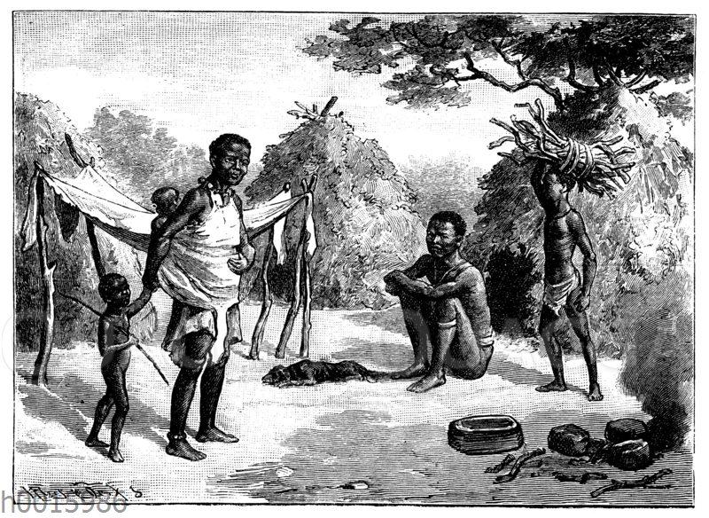 Dorf von Buschmännern in der Kalahari