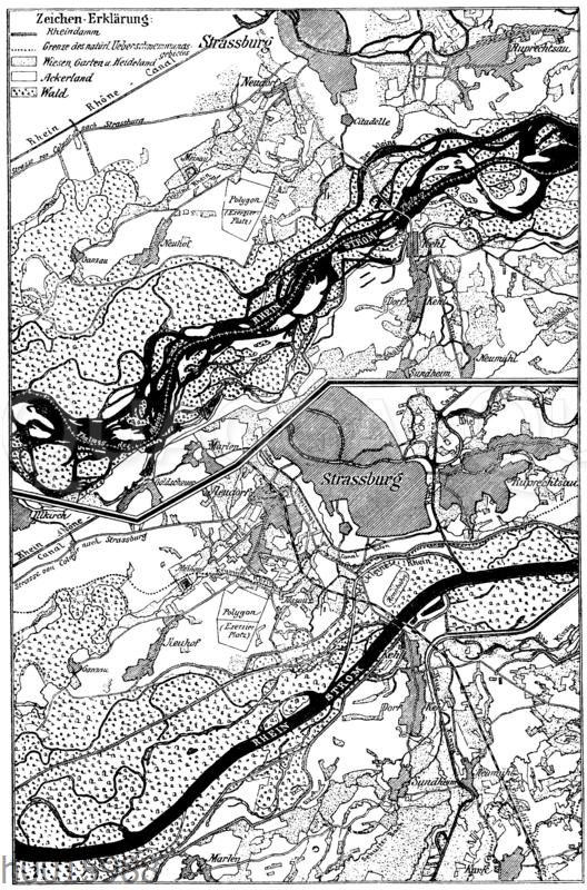 Rheinlauf bei Straßberg-Kehl vor der Korrektion (oben) und danach (unten) (nach Honsell)
