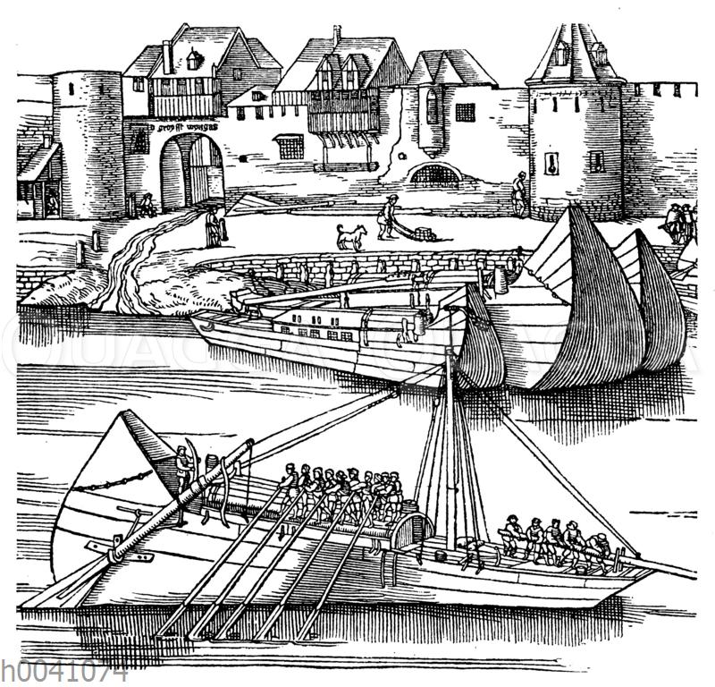 rheinschiffe vor den mauern von k ln von anton von worms aus dem jahre 1531. Black Bedroom Furniture Sets. Home Design Ideas