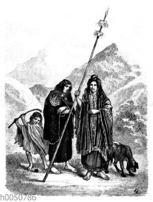 Araukaner mit Frau und Kind