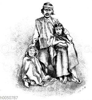 Araukaner mit Mutter und Tochter