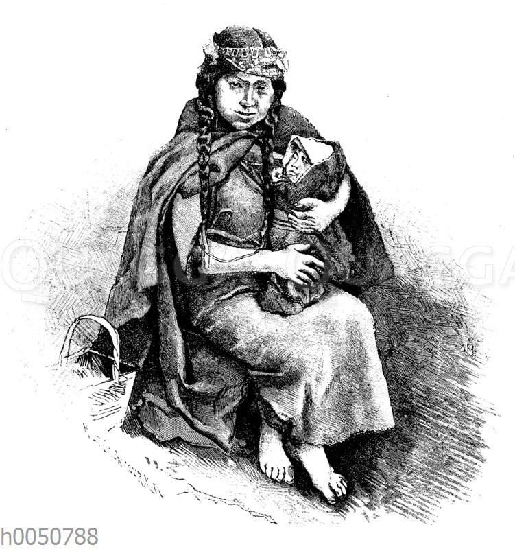 Araukanerfrau mit Kind