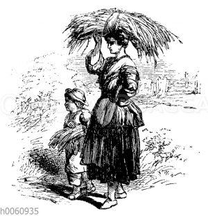 Frau und Junge tragen Garben auf dem Kopf