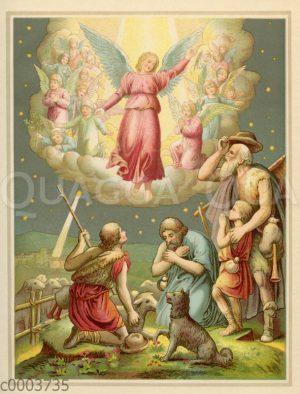 Engel verkündet den Hirten auf dem Felde Christi Geburt