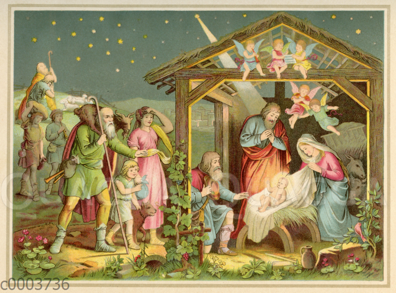 Die Hirten finden Jesus in der Krippe zu Bethlehem