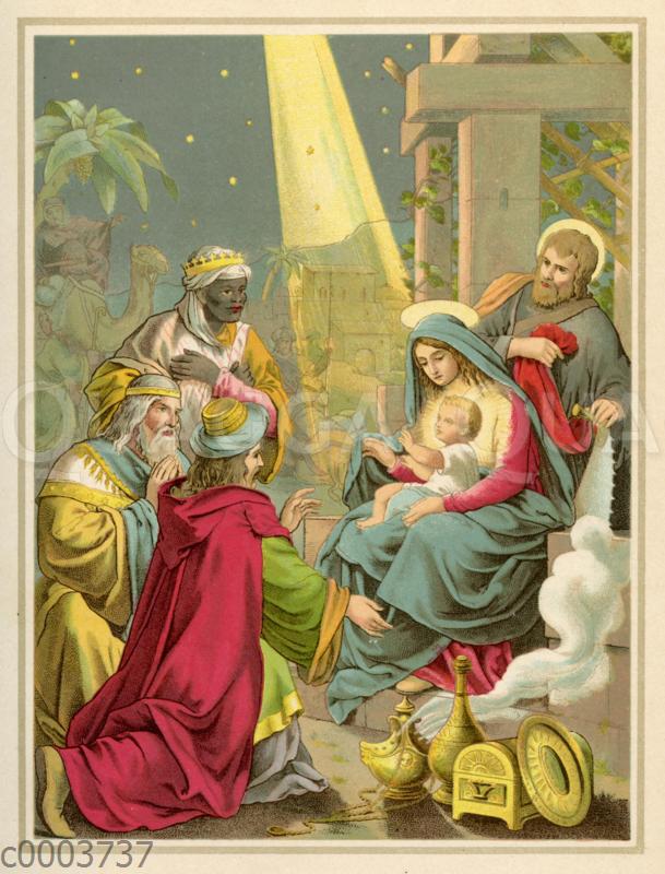Besuch der drei Weisen aus dem Morgenland bei Jesus und seiner Familie