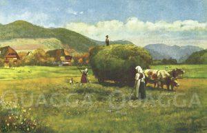 Bauern beim Ernten von Heu