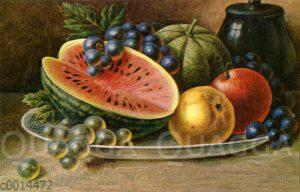 Stillleben: Obst auf einem silbernen Teller