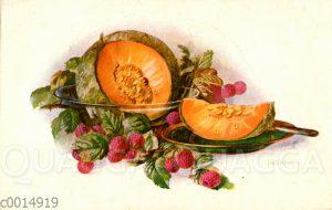 Stillleben mit Melone und Himbeeren