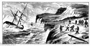 Rettung eines schiffbrüchigen Schiffs mit dem Raketenapparat