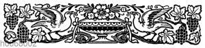 Ornament: Blumenschale mit Weintrauben
