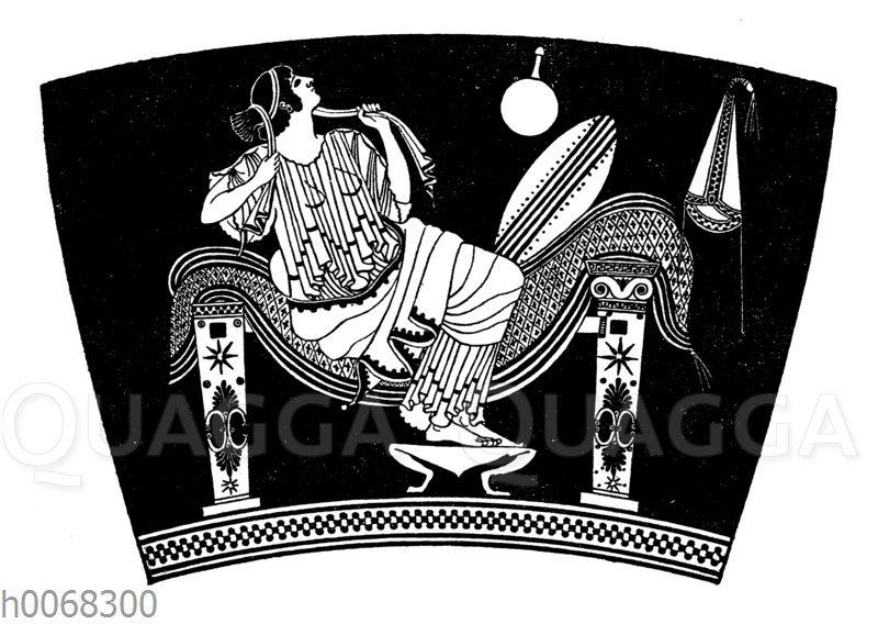 Vornehme römische Dame auf einem Ruhebett