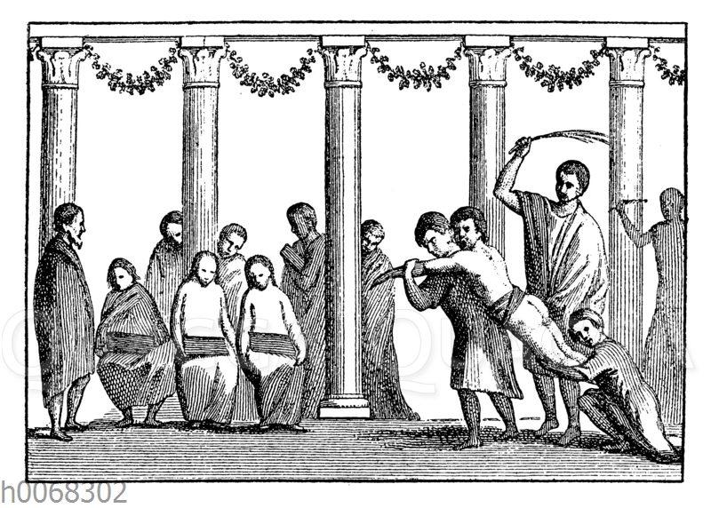 Öffentliche Auspeitschung der Sklaven auf dem Forum