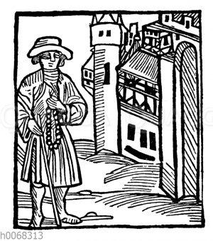 Pilger vor einer Burg