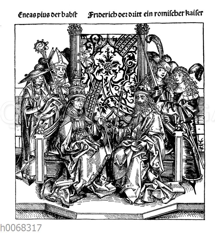 Papst Aenas Pius und Kaiser Friedrich III.