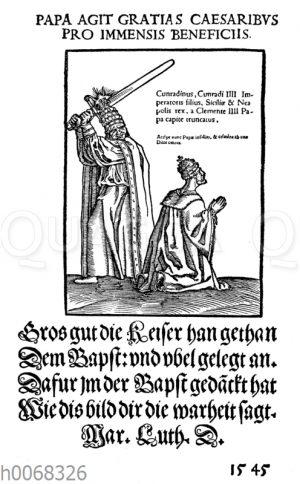 Satirisches Flugblatt auf das Papsttum aus dem Jahre 1545