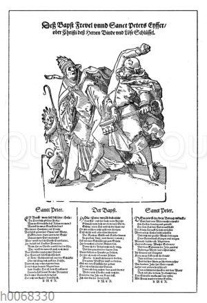 Deutsches satirisches Flugblatt aus der Reformationszeit auf das unchristliche Leben der Päpste