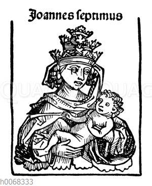 Porträt der angeblichen Päpstin Johanna als Papst Johannes VII.