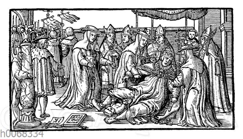 Angebliche Niederkunft der Päpstin Johanna auf der Straße in Rom