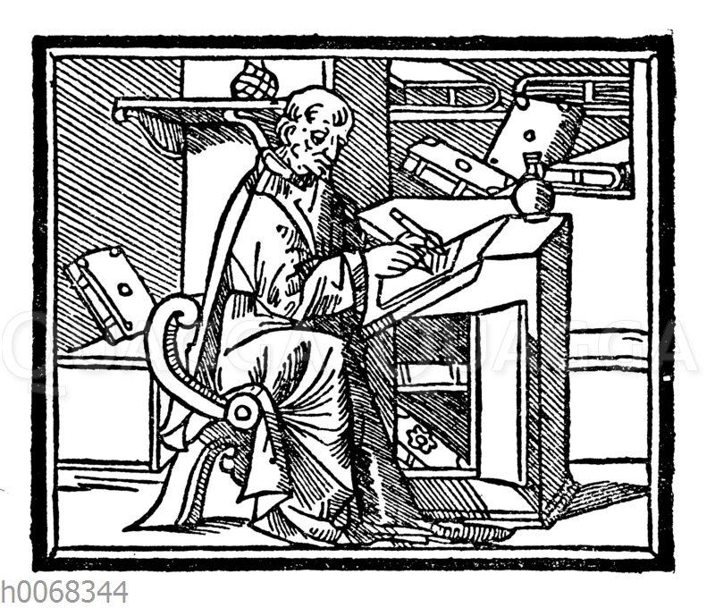Mönch mit Schreibrohr und Federmesser