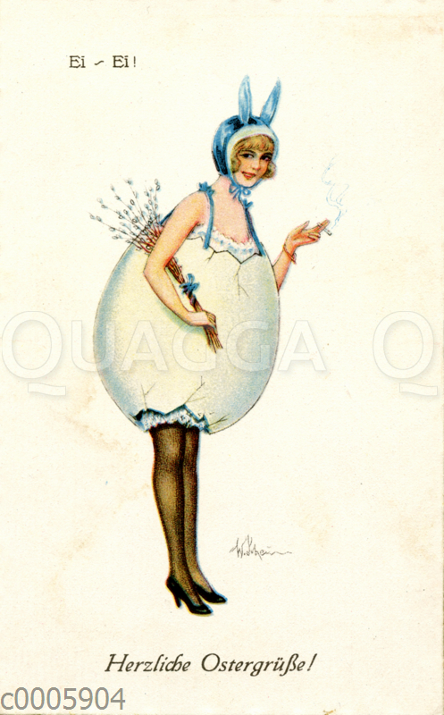 Osterkarte: Junge Frau in Osterei-Kostüm