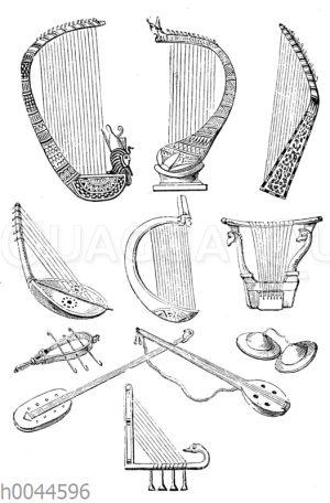 Saiteninstrumente von alt-ägyptischen Denkmälern