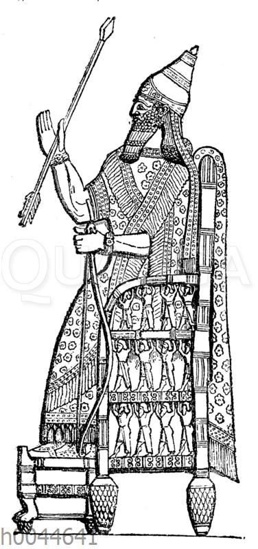 Sanherib auf seinem Thron vor der Stadt Lachis