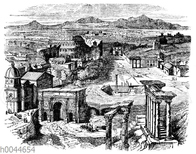 Reste des alten Rom um das Forum Romanum herum