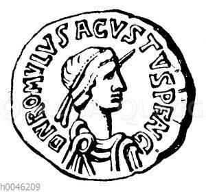 Romulus Augustulus auf einer Münze