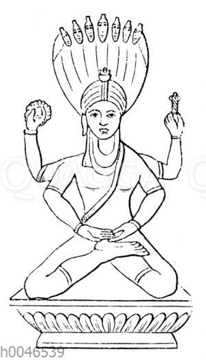 Vishnu im Lotositz