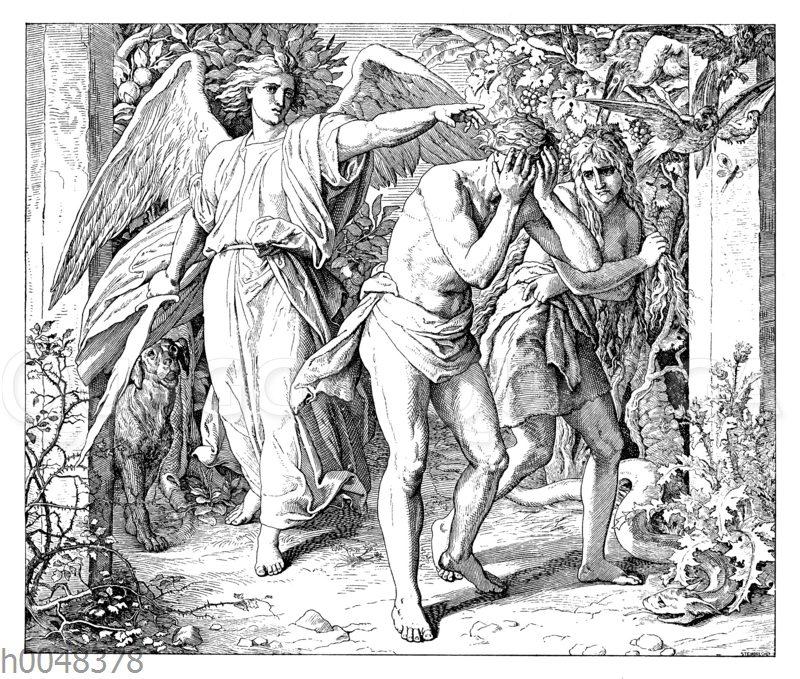 Adam und Eva bei der Vertreibung aus dem Paradies