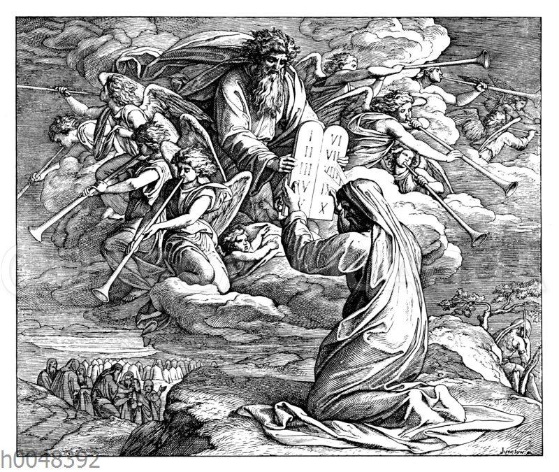 Moses empfängt die heiligen Gebote Gottes
