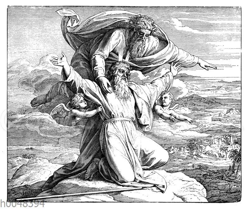Moses erblickt das verheißene Land und stirbt