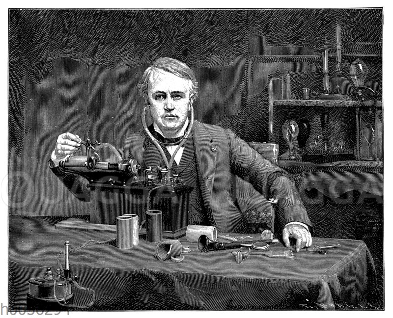 Thomas Alva Edison an seinem Phonographen