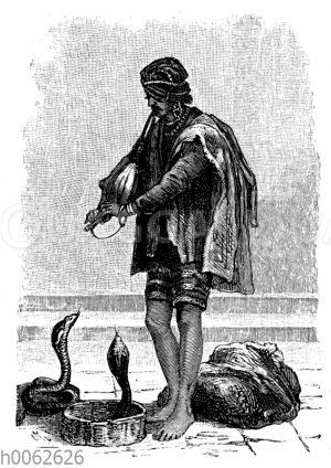 Indischer Gaukler mit Schlangen