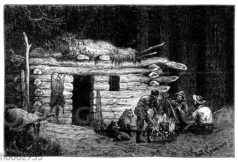 Blockhaus und Trapper im Urwald