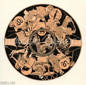 Griechische Vase mit der Zeichnung/Illustration des Schlusskampfes in Troja (außen) und dem greisen Peleus (in der Mitte)